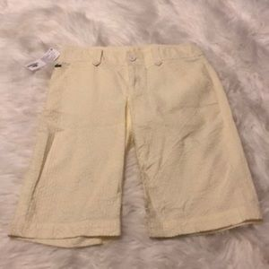 NWT Lacoste Yellow White Fabric Pants size 4